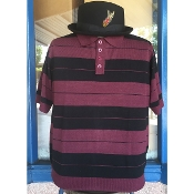 Lowrider Style Charlie Brown Cholo Polo Shirt Burgundy/black