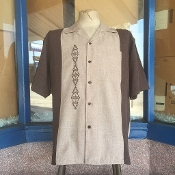 Brown With Tan Two Tone G Bowling Style Shirt
