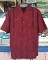 Two Tone Bowling Shirt with Halfway Design in Burgundy