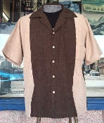 Tan With Brown Two Tone Bowling Shirt