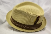 The diamond topped crown milano straw hat with a small snap brim, in the color bamboo (tan) for Greenspan's, South Gate, California. www.greenspans.com