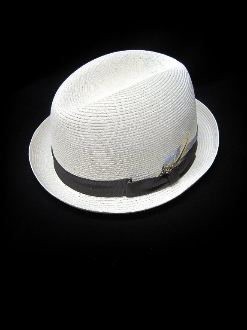 Center Crease Stingy Brim Milano Straw Hat Eggshell