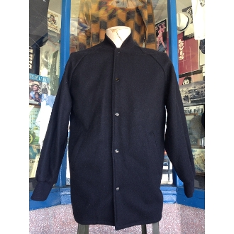 Black Knit Collar Clicker Coat