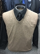 Tan Sleeveless V Neck Sweater Vest