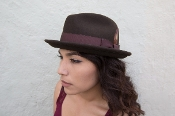 Tattooed model Jenn Marie in a Center creased, pinched, wool felt hat,in a retro, lowrider, rockabilly, gangster style