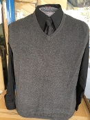 Charcoal Sleeveless V Neck Sweater Vest