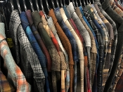 Pendleton wool flannel board shirts for men, plaid and solid. These are retro patterns discontinued, limited edition colors,