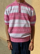 County FB Charlie Brown Polo Shirt Pink/White