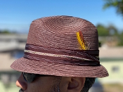 Pinch Front Stingy Brim Milano Straw Hat Brown