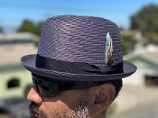 Center Crease Stingy Brim Milano Straw Hat Navy Blue
