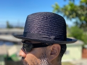 Center Crease Reg Brim Breathable Straw Hat Black