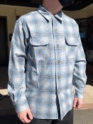 Spring 2021 Pendleton Board Shirt Grey Blue Ombre Plaid