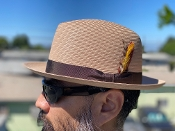 Center Crease Stingy Brim Milano Straw Hat Tan
